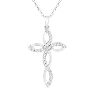 Trillion Designs Sterling Silver 1/3ct TDW Diamond Fashion Cross Necklace Pendant (H-I, I1-I2)
