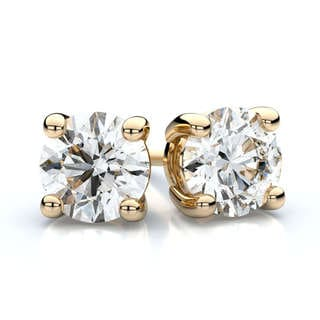 Trillion Designs 10k Yellow Gold White Round Cubic Zirconia Stud Earrings