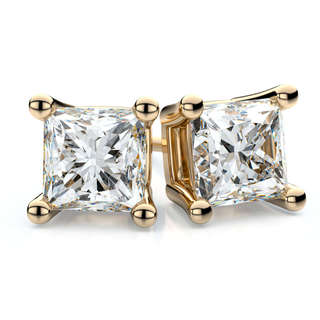 Trillion Designs 10k Yellow Gold White Princess Cubic Zirconia Stud Earrings