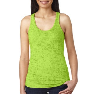 Next Level Women's Neon Green Burnout Racerback Tank