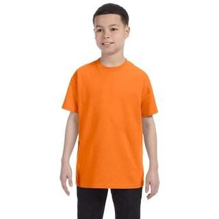 Boys Orange Heavy Cotton Safety T-shirt