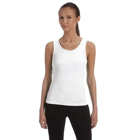 Stretch Rib Women's White Tank