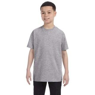 Boys Grey Cotton Sport T-shirt