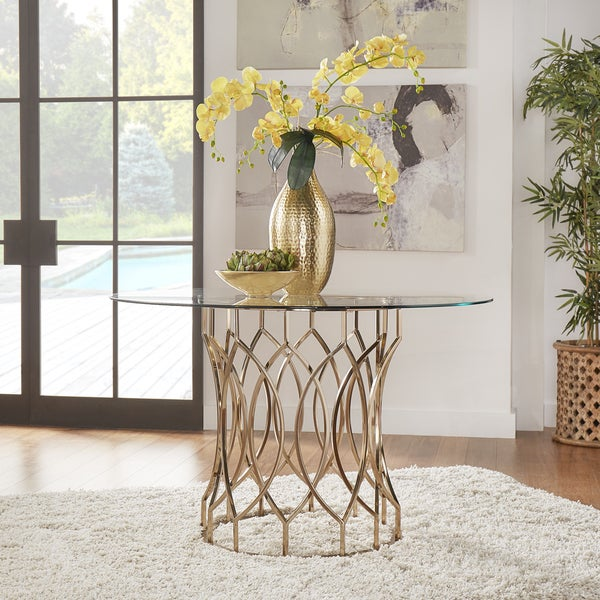 Davlin Round Glass Top Champagne Base Dining Table by iNSPIRE Q Bold - Gold. Opens flyout.