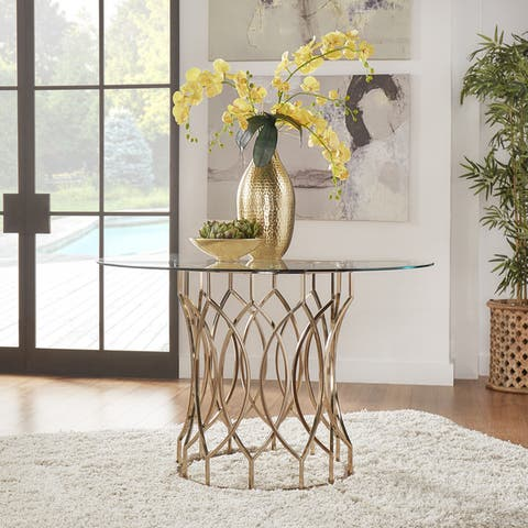 Davlin Round Glass Top Champagne Base Dining Table by iNSPIRE Q Bold - Gold