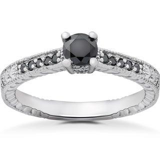 14k White Gold 1/2ct TDW Black Diamond Vintage Engagement Ring