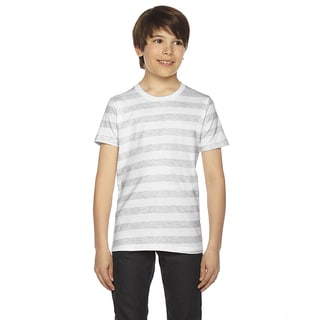 Fine Boys' Jersey Short-Sleeve Boys' Ash White Stripe T-Shirt