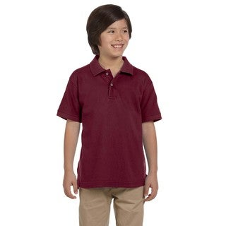 Boys' Ringspun Cotton Pique Short-Sleeve Wine Polo