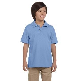 Boys' Ringspun Cotton Pique Short-Sleeve Light College Blue Polo