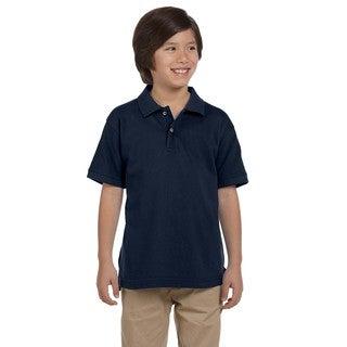 Boys' Ringspun Cotton Pique Short-Sleeve Navy Polo