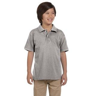 Boys' Ringspun Cotton Pique Short-Sleeve Grey Heather Polo