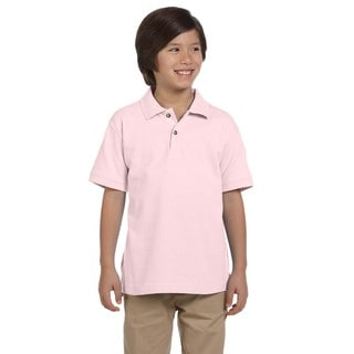 Boys' Ringspun Cotton Pique Short-Sleeve Blush Polo