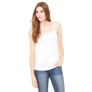 Stretch Rib Women's Spaghetti Strap White Tank