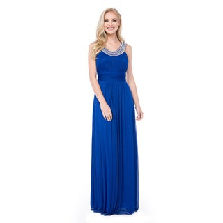 DFI Long Evening Dress with Pearl U-neckline Accent