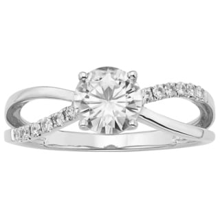 Charles & Colvard 14k White Gold 1.12ct Forever Brilliant Moissanite Solitaire Ring with Side Accent