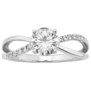 Charles & Colvard 14k White Gold 1.12ct Forever Brilliant Moissanite Solitaire Ring with Side Accents
