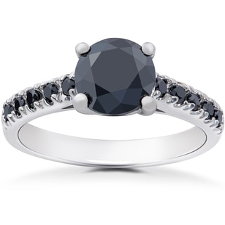 14k White Gold 2 1/4ct TDW Black Diamond Engagement Ring