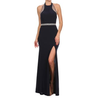 DFI Women's Navy Blue Evening Gown with Beaded Embelishments