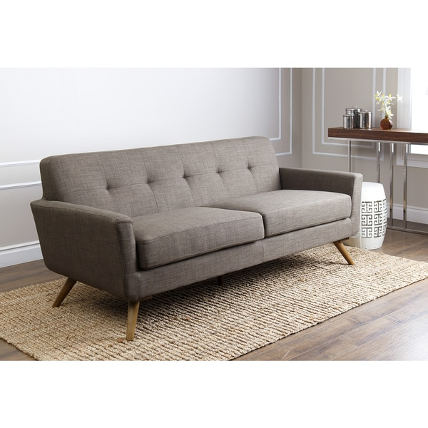 Shop Abbyson Bradley Khaki Mid Century Fabric Sofa Free