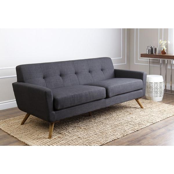 abbyson bradley mid century style grey sofa - Grey Tufted Sofa