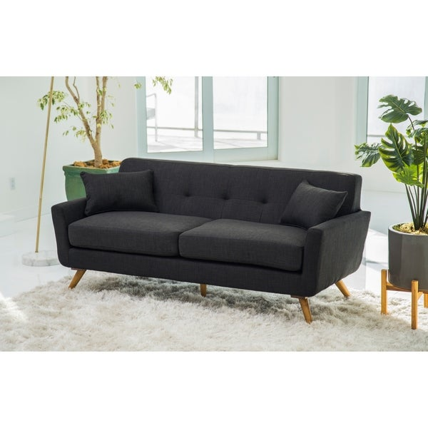 Shop Abbyson Bradley Mid Century Grey Fabric Sofa Free