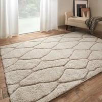 Jullian Ivory/ Beige Trellis Shag Rug (7'7 X 7'7 Square)