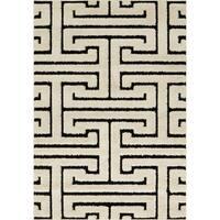 Jullian White/ Black Geometric Maze Shag Rug - 3'10 x 5'7