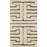 """Contemporary White/ Black Geometric Maze Shag Rug - 2'3"""" x 3'9"""""""