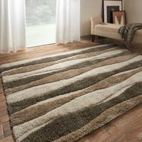 Mid-century Neutral Abstract Stripe Shag Rug - 7'7 x 10'6