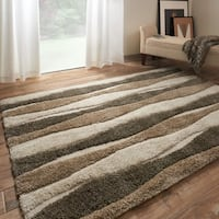 Mid-century Neutral Abstract Stripe Square Shag Rug - 7'7 x 7'7