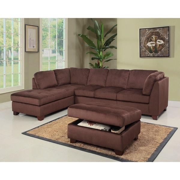 Shop Abbyson Delano Sectional Sofa And Storage Ottoman Set