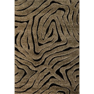 Jullian Smoke/ Black Abstract Shag Rug (7'7 X 7'7 Square)