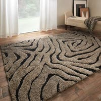 Jullian Smoke/ Black Abstract Shag Rug - 5'3 X 7'7
