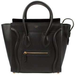 Celine Micro Luggage Smooth Black Calfskin Handbag
