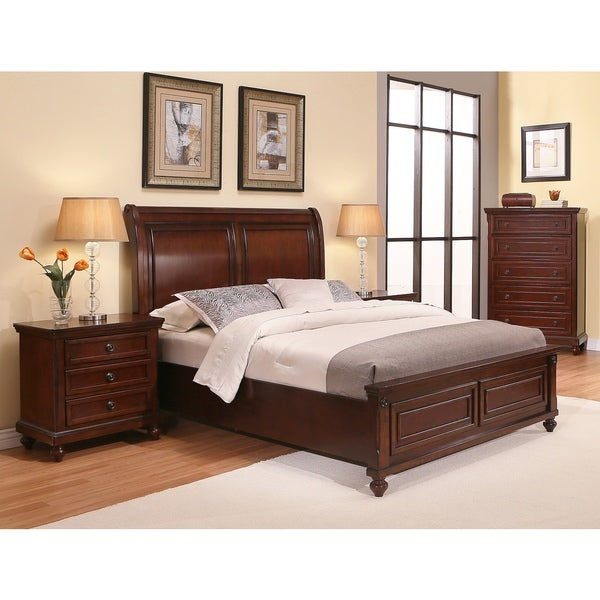Abbyson Caprice Cherry Wood Bedroom Set (4 Piece)