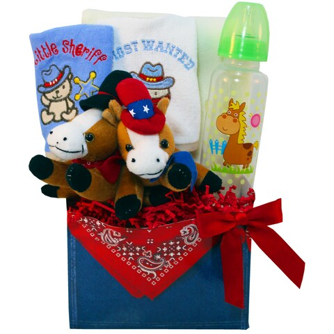 Little Dude Baby Boy Horse and Cowboy Gift Basket