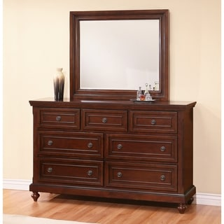 Abbyson Caprice Cherry Wood 7 Drawer Dresser and Mirror