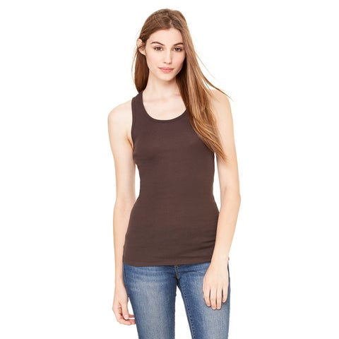 Sheer Women's Mini Rib Racerback Chocolate Tank