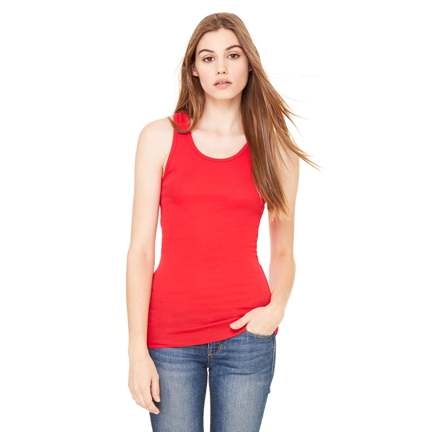 Sheer Women's Red Mini Rib Racerback Tank (L) (spandex)