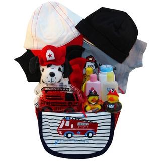 Firemen's Best Friend Dalmatian Puppy Baby Boy Gift Basket