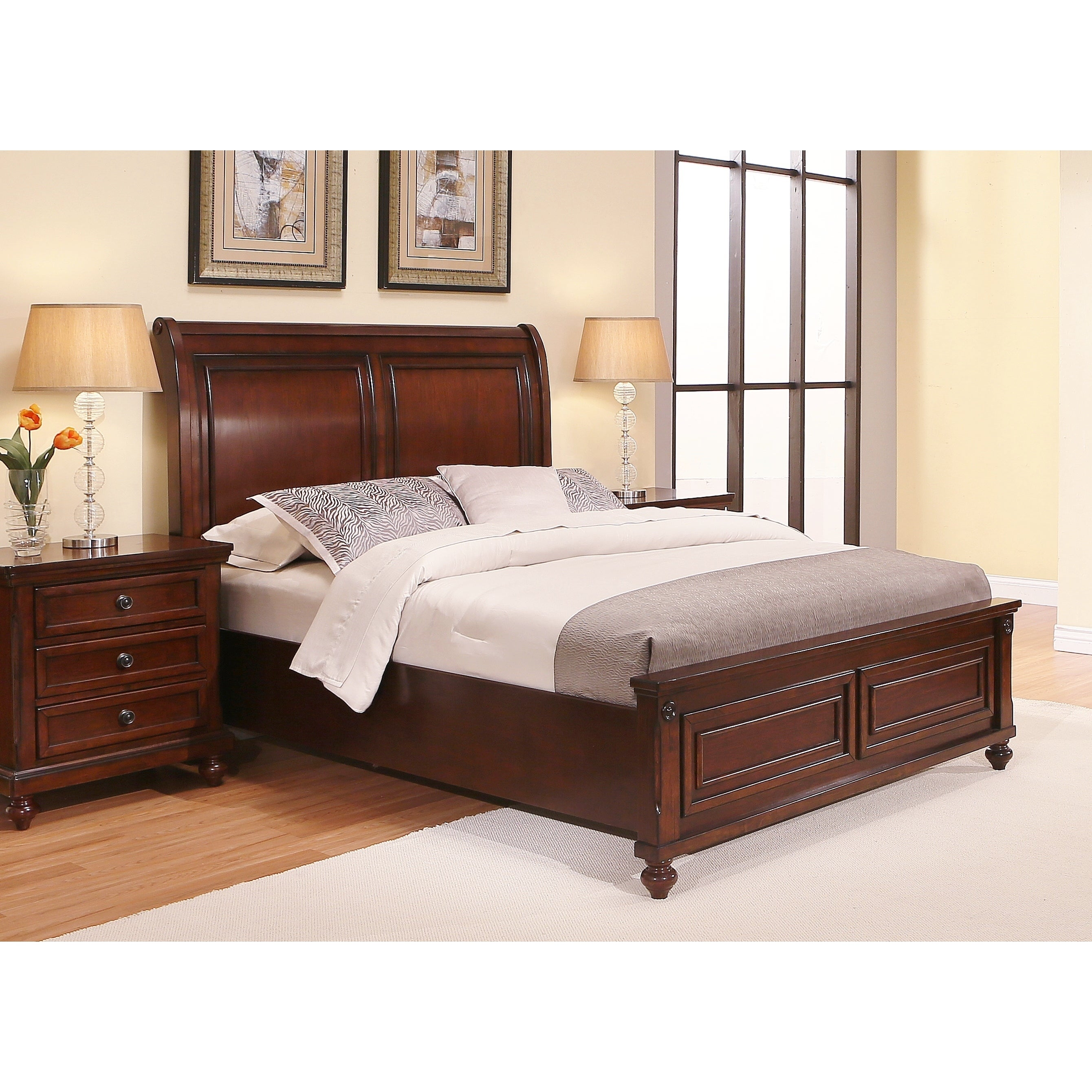 Abbyson Caprice Cherry Wood Bed (Cherry), Brown, Size Queen