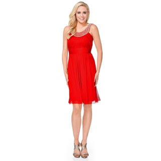 DFI Short Dress with Pearl Neckline Accent