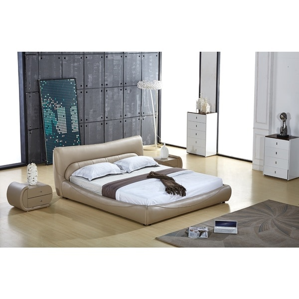 Shop Avery Grey Faux Leather Contemporary Platform Bed