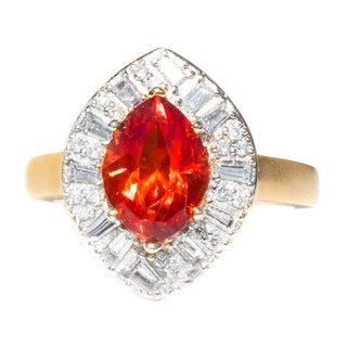 California Girl Jewelry 18k Yellow Gold Rhodochrosite and 1ct TDW Diamond Ring (G-H, VS1-VS2)