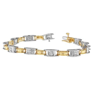 14k Two-tone Gold 1ct TDW Princess-cut Diamond Rail-style Bracelet (H-I, SI2-I1)