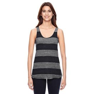 Meegs Women's Ec Grey/With Black Stripes Printed Racer Tank