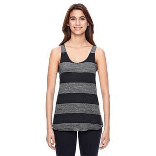 Meegs Women's Ec Grey/With Black Stripes Printed Racer Tank|https://ak1.ostkcdn.com/images/products/12299861/P19135709.jpg?impolicy=medium