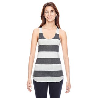 Meegs Women's Ec Grey/With White Stripes Printed Racer Tank|https://ak1.ostkcdn.com/images/products/12299862/P19135710.jpg?impolicy=medium