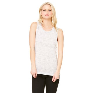 Flowy Women's White Marble Scoop Muscle Tank