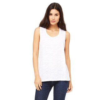 Flowy Women's Scoop Muscle White Slub Tank (3 options available)